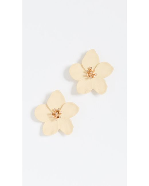 Shashi - Yellow Iris Single Flower Studs - Lyst