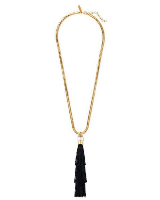 Rachel Zoe - Metallic Gracie Silk Tassel Necklace - Lyst