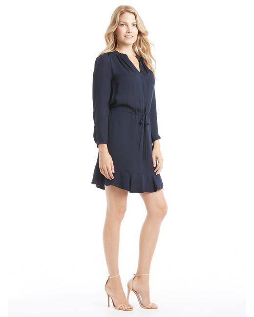 Rebecca Taylor - Blue Long Sleeve Silk Elastic Waist Dress - Lyst