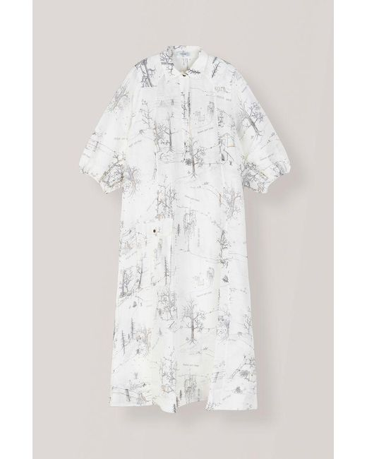 841954d106 ... Ganni - White Silk Linen Dress In Egret - Lyst