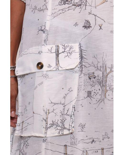 f3ca83d788 ... Ganni - White Silk Linen Dress In Egret - Lyst ...