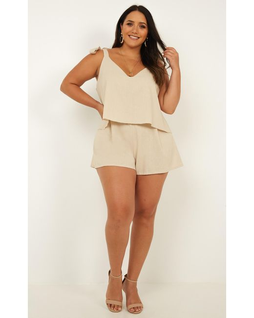 ddef3e9f0ed ... Showpo - Natural Out Of Interest Playsuit - Lyst ...