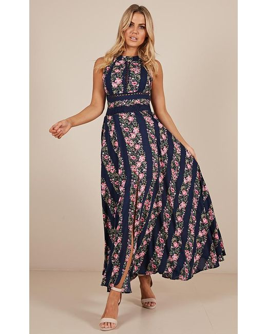 d7d36e27a57b ... Showpo - Blue Run Alone Maxi Dress - Lyst ...
