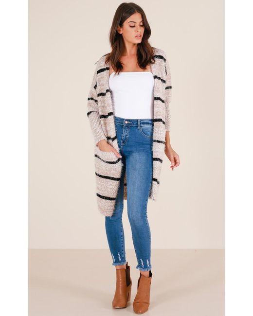 Showpo | Natural Straight Up Cardigan In Beige Stripe | Lyst