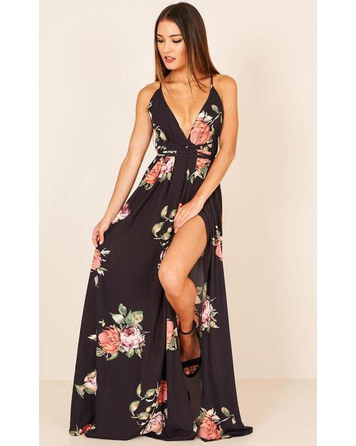 Showpo | Shine Through Maxi Dress In Black Floral | Lyst