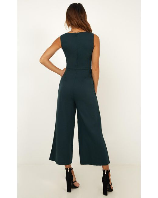 44677e6b8a1c ... Showpo - Green Run Free Jumpsuit - Lyst ...