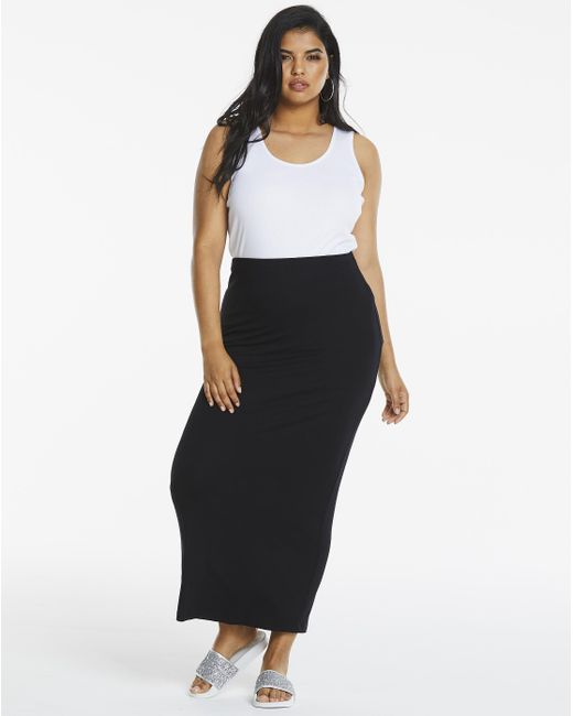 Simply Be - Black Edited By Amber Rose Stretch Jersey Tube Maxi Skirt - Lyst