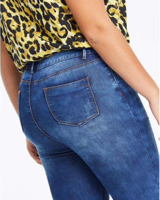 22292c06471 ... Simply Be - Blue Chloe Chewed Low Hem High Waist Skinny Jeans - Lyst ...