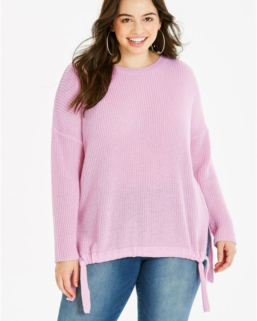 Simply Be - Purple Ruched Front Tie Sweater - Lyst