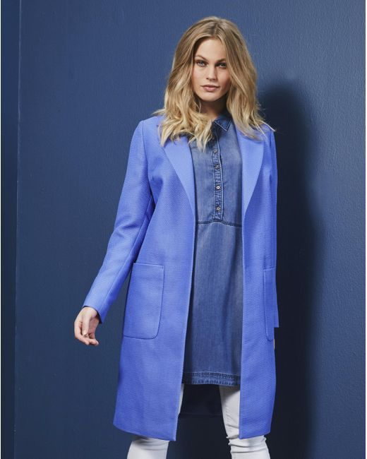 Simply Be - Blue Waffle Textured Coat - Lyst