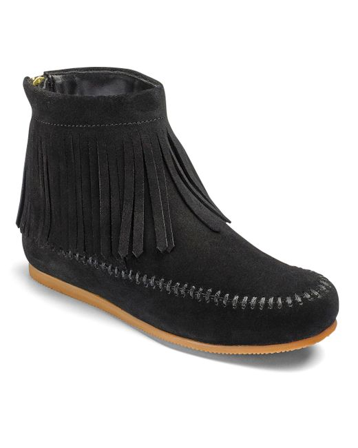 Simply Be - Black Sole Diva Fringed Ankle Boots - Lyst
