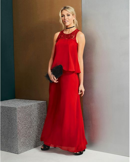 Simply Be - Red Lace Yoke Layer Maxi Dress - Lyst