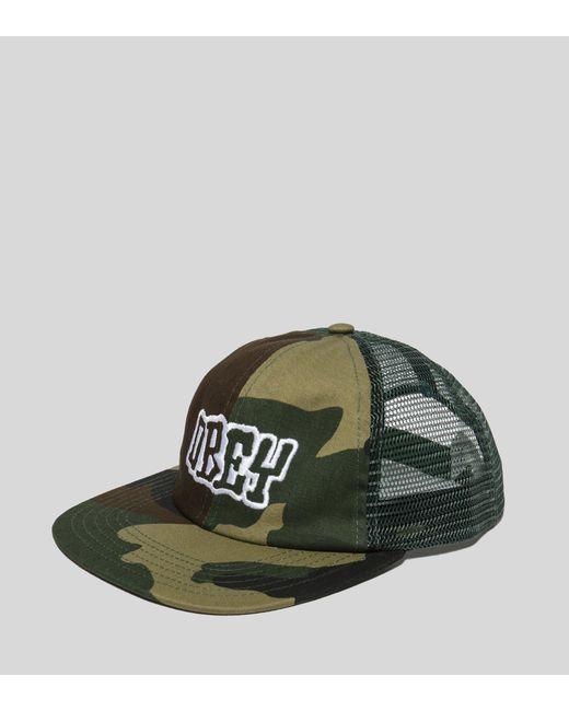 Obey - Green Runnin Trucker Cap for Men - Lyst ... 4dd87584b24