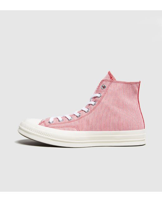 Converse - Red Chuck Taylor Hi Striped Chambray for Men - Lyst