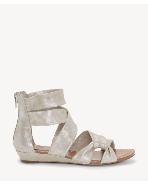 014e4c54aee ... Vince Camuto - Metallic Seevina Strappy Low Wedge Sandal - Lyst ...
