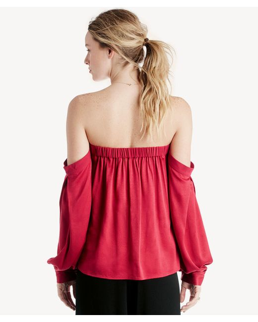 9be008c89d7569 Lyst - 1.STATE Off Shoulder Voluminous Sleeve Blouse in Red