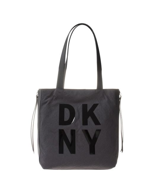DKNY - Black Front Logo Tote - Lyst