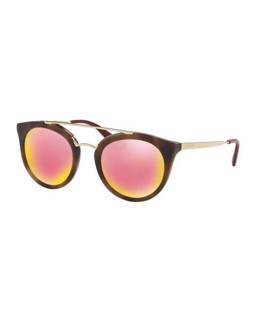 Prada - Pink 23ss Round Sunglasses - Lyst