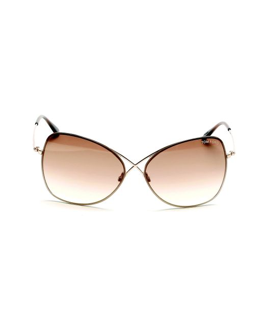 2eedb0cd942 Lyst - Tom Ford 0250 Colette Modified Oval Sunglasses in Brown