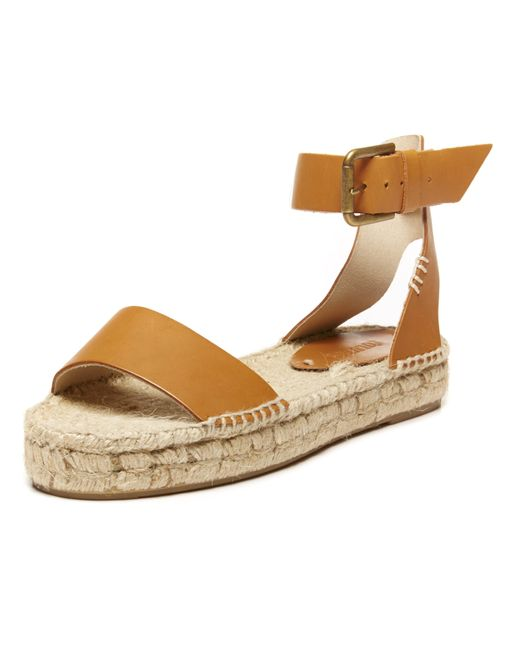 Soludos | Brown Open-Toe Leather Espadrilles | Lyst