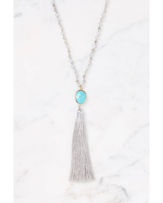 South Moon Under - Gray Grey Beaded Tassel Pendant Necklace - Lyst