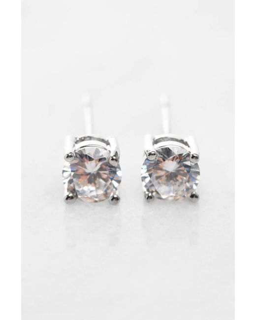 South Moon Under - Metallic Round Cubic Zirconia Stud Earrings - Lyst