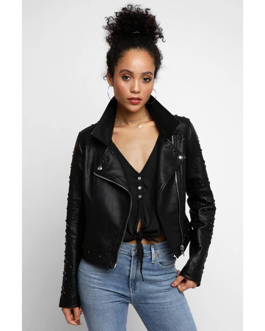 South Moon Under - Black Vegan Moto Jacket With Painted Studs - Lyst
