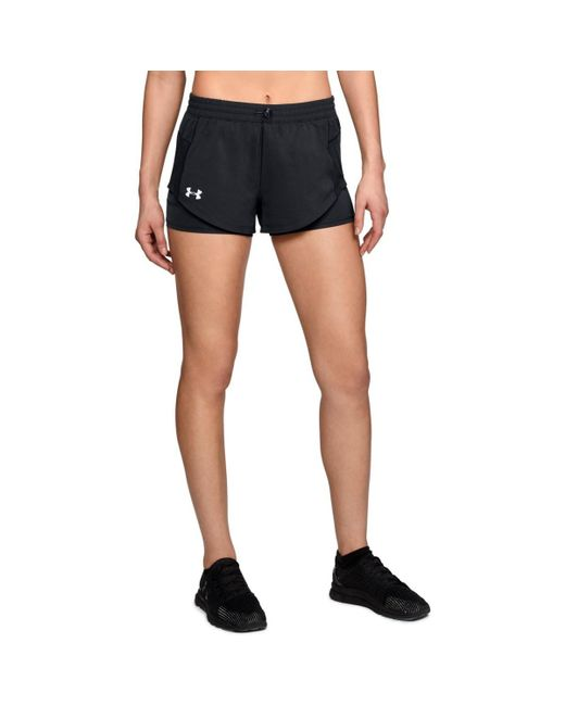 Under Armour - Black Women's Ua Stretch Woven 2-in-1 Run Shorts - Lyst