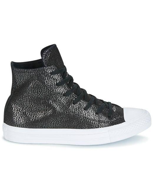 5b60a92b3d993f ... Converse - Black Chuck Taylor All Star Hi Tipped Metallic Shoes (high- top Trainers ...