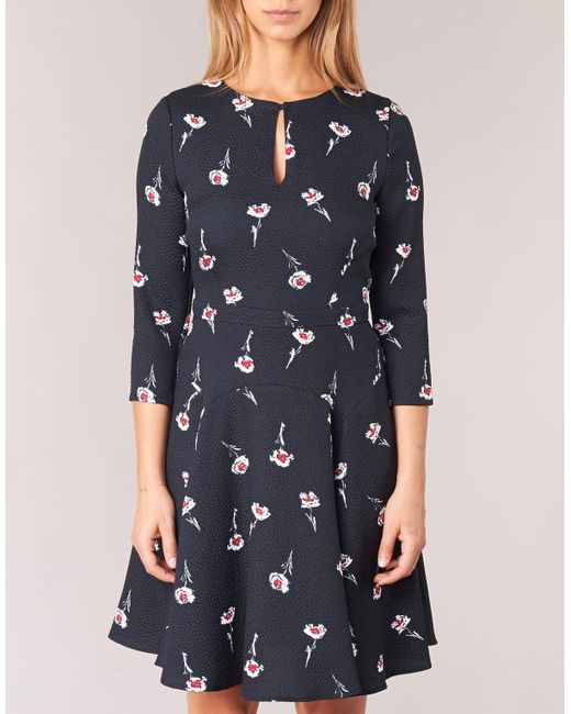 7bd97377ce ... Armani Jeans - Black Floral Print Dress With French Sleeves - Lyst ...