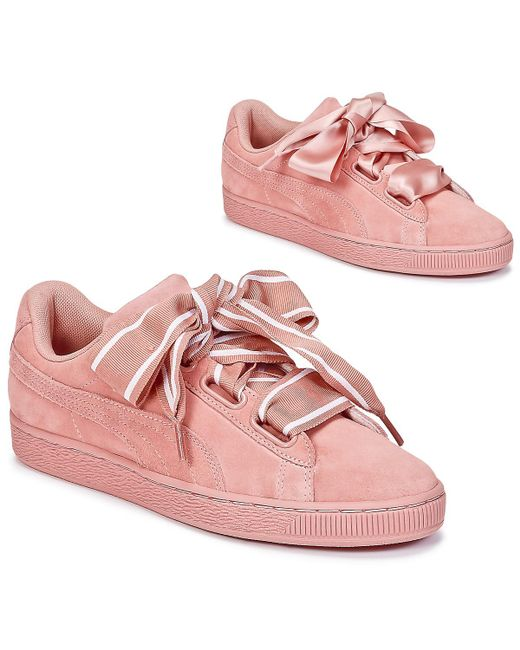 PUMA Basket Heart Satin Women s Shoes (trainers) In Pink in Pink ... 513c66d34