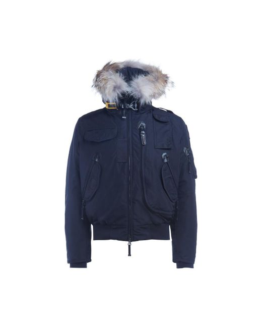 Parajumpers - Down-filled Nylon Gobi Blue Bomber With Trimmed Fur Hood Men's Jacket In ...