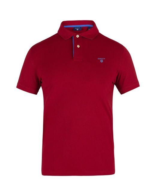 44ad8ba9 Gant - Men's Contrast Collar Rugger Poloshirt, Red Men's Polo Shirt In Red  for Men ...