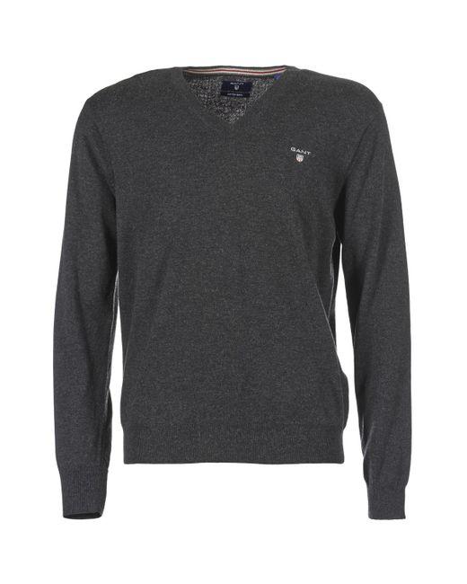 Gant - Gray Cotton Wool V-neck Men's Sweater In Grey for Men - Lyst