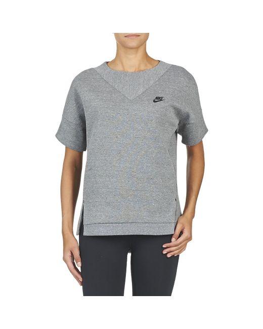Nike Tech Fleece Crew Women s Sweatshirt In Grey in Gray - Lyst 55ed17d03