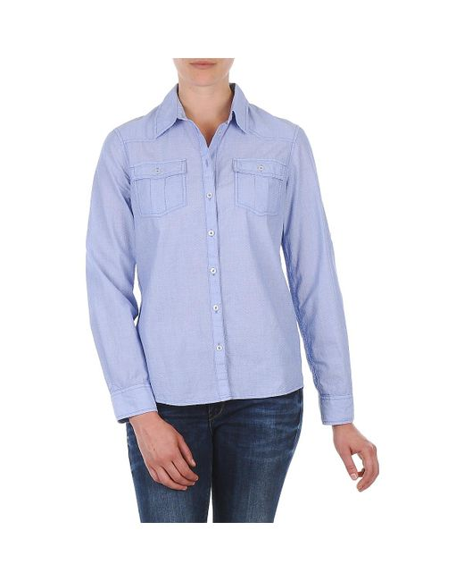 S.oliver - Blue Chemister Manches Lo Shirt - Lyst