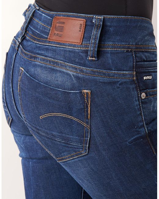 G-Star RAW 3301 Mid Bootleg Jeans Rinsed Womens Jeans Jeans for Women COLOUR-rinsed