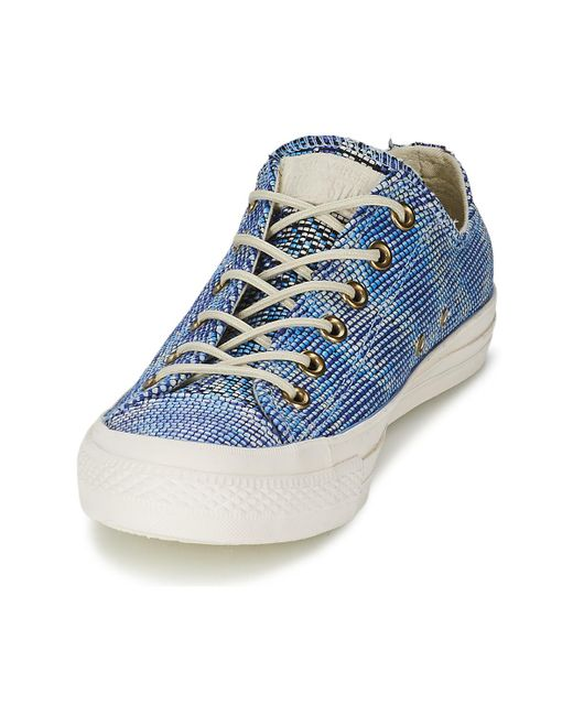 bb673b36a31b31 ... Lyst Converse - All Star Basket Weave Ox Women s Shoes (trainers) In  Blue ...