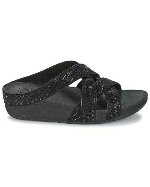 a56bbd4ef268 ... Fitflop - Slinky Rokkit Criss-cross Slide Women s Mules   Casual Shoes  In Black ...