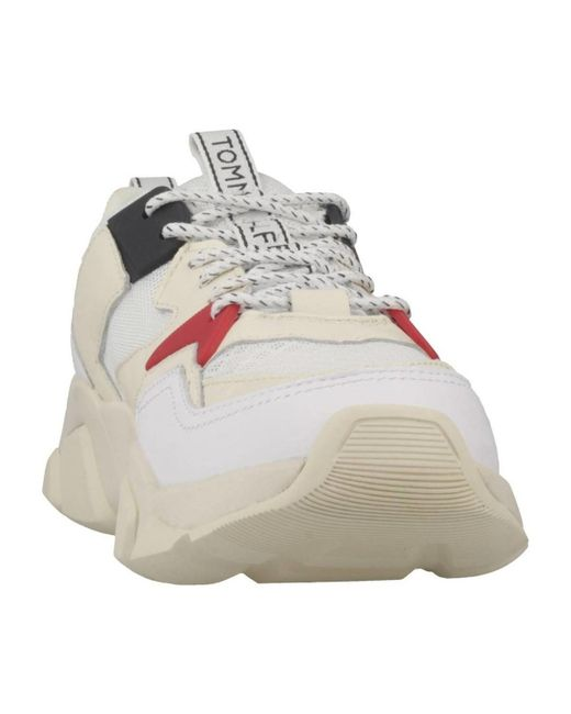2c2e2869db1c ... Lyst Tommy Hilfiger - Wmn Chunky Mixed Textile Women s Shoes (trainers)  In White ...