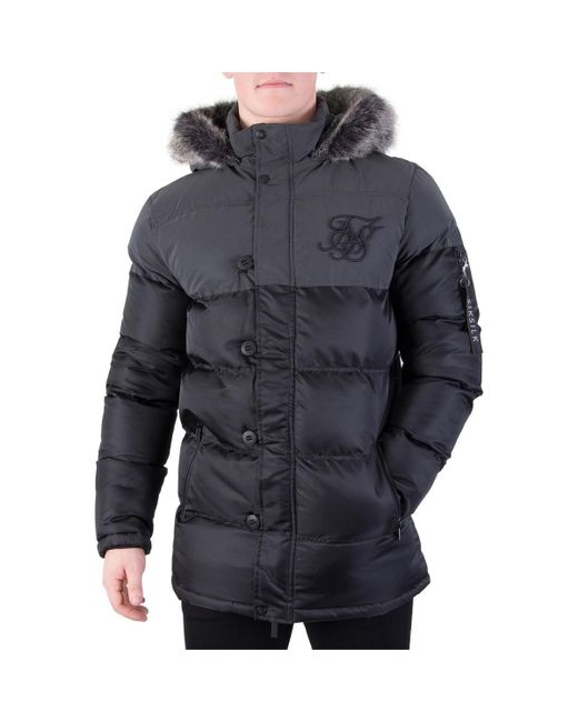 Sik Silk | Men's Reflective Puffparka Jacket, Black Men's Jacket In Black for Men | Lyst