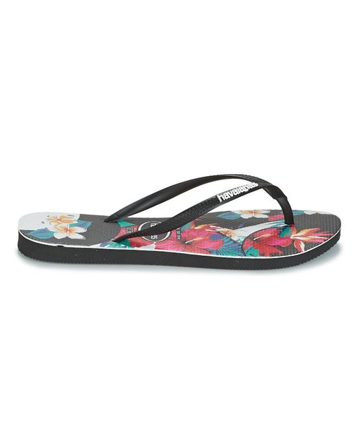 710da3bdd6bf ... Havaianas - Black Slim Tropical Floral Flip Flops   Sandals (shoes) -  Lyst ...
