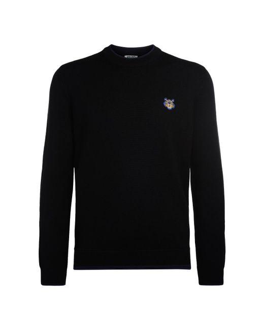 KENZO - Tiger Black Wool Roundneck Jumper Men's Sweater In Black for Men - Lyst