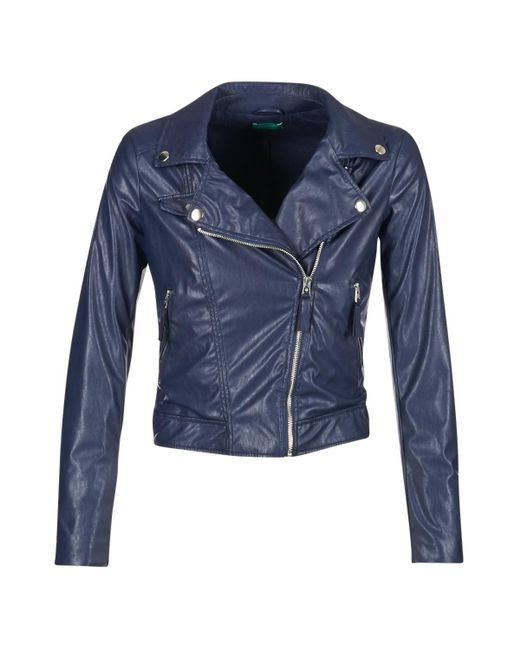Benetton - Ferdoni Women's Leather Jacket In Blue - Lyst