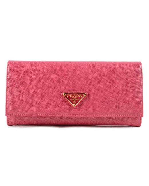 Prada - Pink Saffiano Triangolo Wallet - Lyst