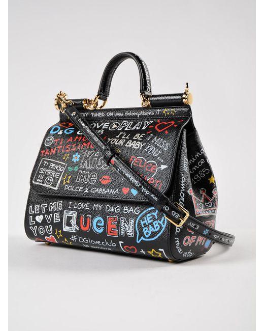 ... Lyst Dolce   Gabbana - Black St.dauphine Printed Handbag ... 3578167b3ce6f