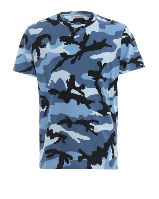 Valentino - Blue Camou Tshirt for Men - Lyst