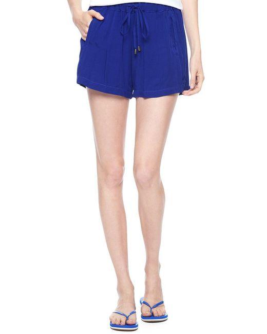 Splendid   Blue Rayon Voile Shorts   Lyst