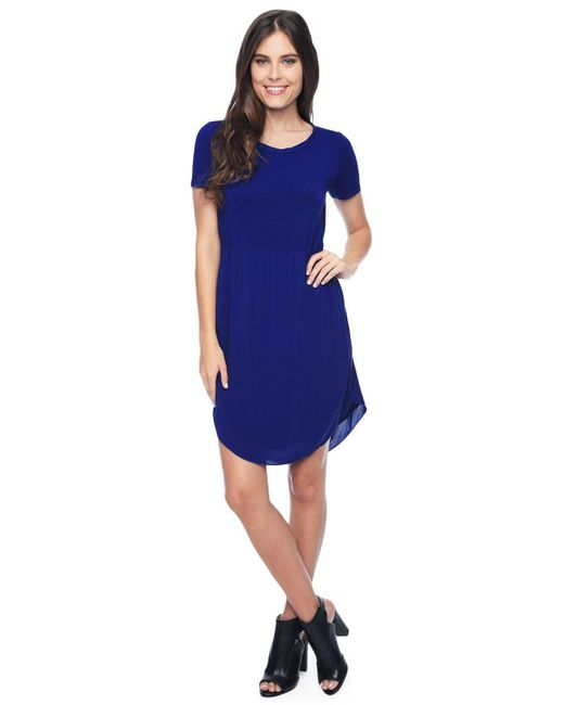 Splendid | Blue Mixed Media Dress | Lyst