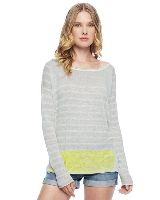 Splendid   Gray Linen Print Pullover   Lyst
